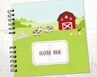 Baby Book |  Baby Memory Album | Farm Animals Barnyard Personalized Wire Bound Baby Memory Book Keepsake Album