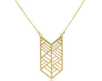 Geometric Pendant Necklace, Geometric Necklace, Boho Necklace, Ethnic Necklace, Gold Plated Jewelry, Long Chain Necklace, Necklace For Women