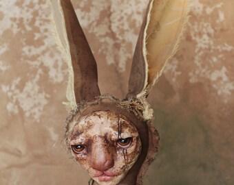HAFNAR - hare - rabbit - art doll - ooak - textile art - solf sculpture - original - figurative art - collectible doll - curiosity