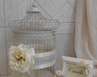 Large Birdcage Wedding Card Holder / Round Birdcage / Wedding Card Box / Wedding Decorations / Ivory Wedding Birdcage Decoration