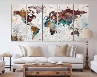 World map canvas etsy quick view world map gumiabroncs Image collections