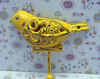 Bird Hook 5 x 5 Cast Iron Ornate Swirl Floral Shabby Elegance Chic Sunny Yellow Jewelry Key Pet Leash Rustic Beach Lake Woodland Wall Hook