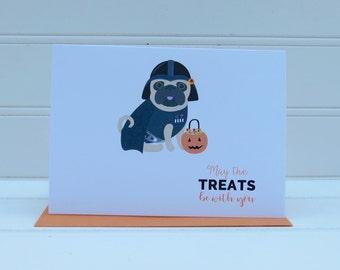 Star Wars Halloween Card, Dog Halloween Card, Darth Vader Card, Pug Halloween Card, From the Dog, For Dog Mom, Dog Dad, Dog Lover, Pug