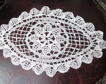 Vintage Hand Crocheted Doily White Oval Shabby Chic