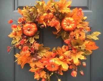 Pumpkin Wreaths, Fall Pumpkin Wreath, Orange Leaves, Fall Wreaths, Fall Decorating, Fall Door Decor, Pumpkin Door Wreath, Thanksgiving Day