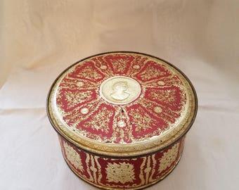 Vintage Guildcraft Gold Embossed / Cameo Biscuit Tin