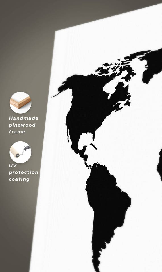 Large Black And White World Map Canvas Black And White Map Of - Big black and white world map