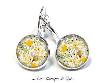 925 Sterling Silver: Stud Earrings with glass cabochons * flowers * (150218) 3 sizes
