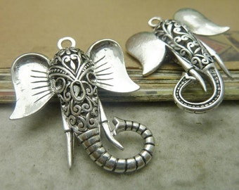 2 Large Elephant Charms Antique Silver Tone 3D Elephant's trunk - DYS7657