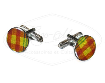 READY TO SHIP-plaid madras stainless cufflinks, yellow and red checkered cuff links, wedding cuff links, men jewelry,  coo-pds 34