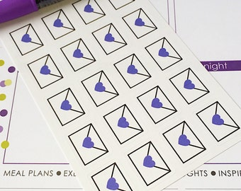 20 Envelope Mail Day Planner Stickers- Envelope with Purple Heart Stickers- perfect in your Erin Condren planner, wall calendar or scrapbook