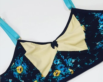 2pc Don't Be Blue Vintage Inspired Bralette and Boy Shorts Handmade FREE US SHIPPING