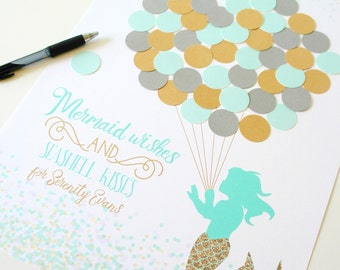 Mermaid Baby Shower Decor Mermaid Shower Decorations Mint and Gold Baby Shower Mermaid Birthday Party Guestbook Alternative Guest Sign In