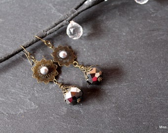 Bronze earrings Crystal beads, silver, hooks or clips