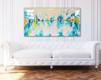 """SOLD! Original 24"""" x 48"""" Painting in shades of teal, turquoise,yellow, white, touches of navy and pink Real Silver Leaf Resin Coat"""