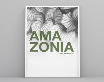 Amazonia Printable poster, lifestyle art print, modern, Scandinavian, tropical poster, digital file, landscape decoration, white poster