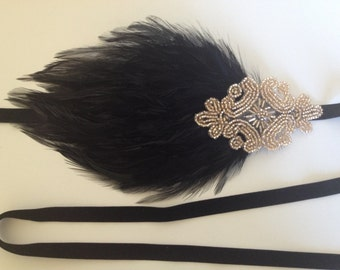 Art Deco Headband, great gatsby headband, Champagne Headpiece, 1920s headpiece, flapper dress, black Feather headband Beaded Headband,