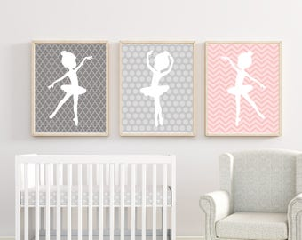 Ballerina Wall Art, Baby Girl Nursery Decor, Suits Pink And Gray Nursery  And Bedroom