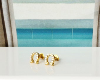 CZ Horseshoe studs in gold plated sterling silver • For good luck • Can get wet