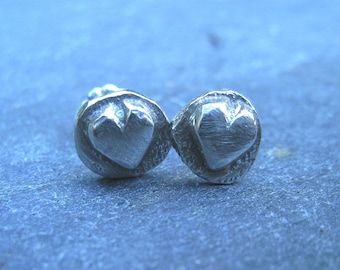 Valentine gift, Small rustic heart sterling silver stud earrings - gift under 30 dollars - oxidized silver post earrings organic boho light