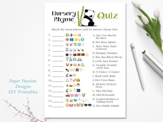 Emoji Nursery Rhyme Quiz Panda Bear Baby Shower Game