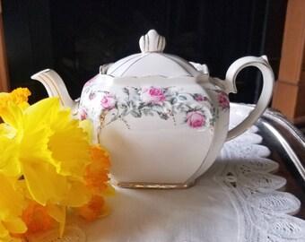 Vintage Sadler Teapot With Pink Roses #2851