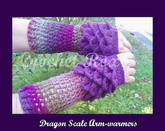 Dragon scale fingerless mitts, Crocodile scale fingerless Mitts,  fingerless gloves, Dragon gloves with Crochet Scales