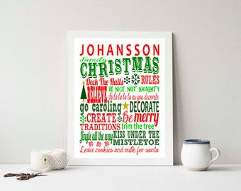 Personalized Christmas Family Rules - SUBWAY ART- Print 8x10 Holiday, Custom