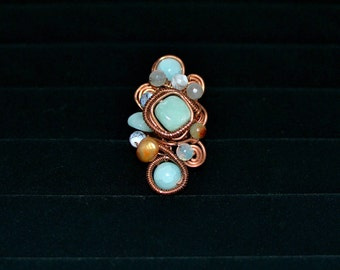 Blue Quartz and Freshwater Pearl Statement Ring