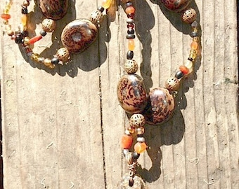 Sea Rustic Necklace. Reversible Sea Rust Pendant Original with Recycled Beads.