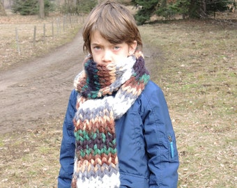 Winter hand knitted oversized shawl, Hand knitted chunky soft and warm scarf, Shawl for adults or children