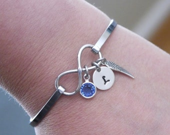 Angel Wing Bracelet, Angel Wing Infinity Bracelet, Angel Wing Initial Bracelet, Initial Birthstone Bracelet, Remembrance Gifts, Personalized