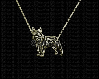 French Bulldog - solid 14k gold pendant and necklace.