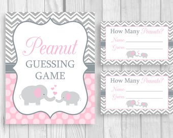 Peanut Guessing Game Printable 8x10 Pink and Gray Elephant Girl's Baby Shower Sign and Sheet of 3x5 Tickets - Instant Download