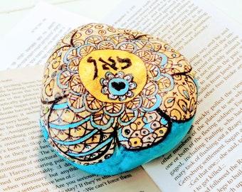 SALE, Mandala Flower Stone, Paperweight, Decorated Stone, Painted Pebble, Hand Painted Stone, Bohemian Art, Rock Art
