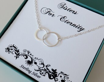 Two Sisters Necklace, Sterling Silver Circle Necklace, 2 Sisters Jewelry, Sister Gift for Eternity, MarciaHDesigns, MHD