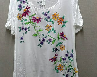 Summer Wildflowers Tunic with Asymmetric Hem Handpainted