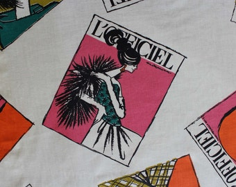 1960s Fabric - 3 Yards Long x 44 Inches Wide - Rare Fashion Magazines 60s Novelty Print - L'Officiel Models Yardage - Vintage Vixen - 46646
