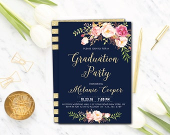 Graduation Party Invite,College Graduation Party Invite,Graduation Party Invitation,Graduation Invitation Cards,Floral Printable Invitations