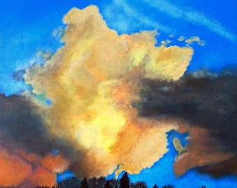Cloudy sky, painting blue sky and clouds, original acrylic painting on canvas