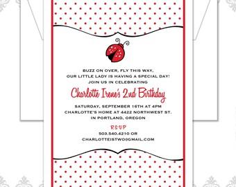 Ladybug Birthday Invitation, Ladybug party, Red ladybug, Buzz on over, Our little Bug, Ladybugs, Polka dots, Second Birthday Invite, modern