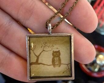 Eule Art Anhänger Halskette, antike Messingkette