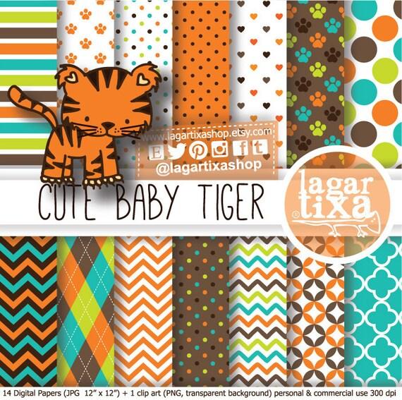 Tiger Digital Paper Clip Art Patterns For Baby Shower