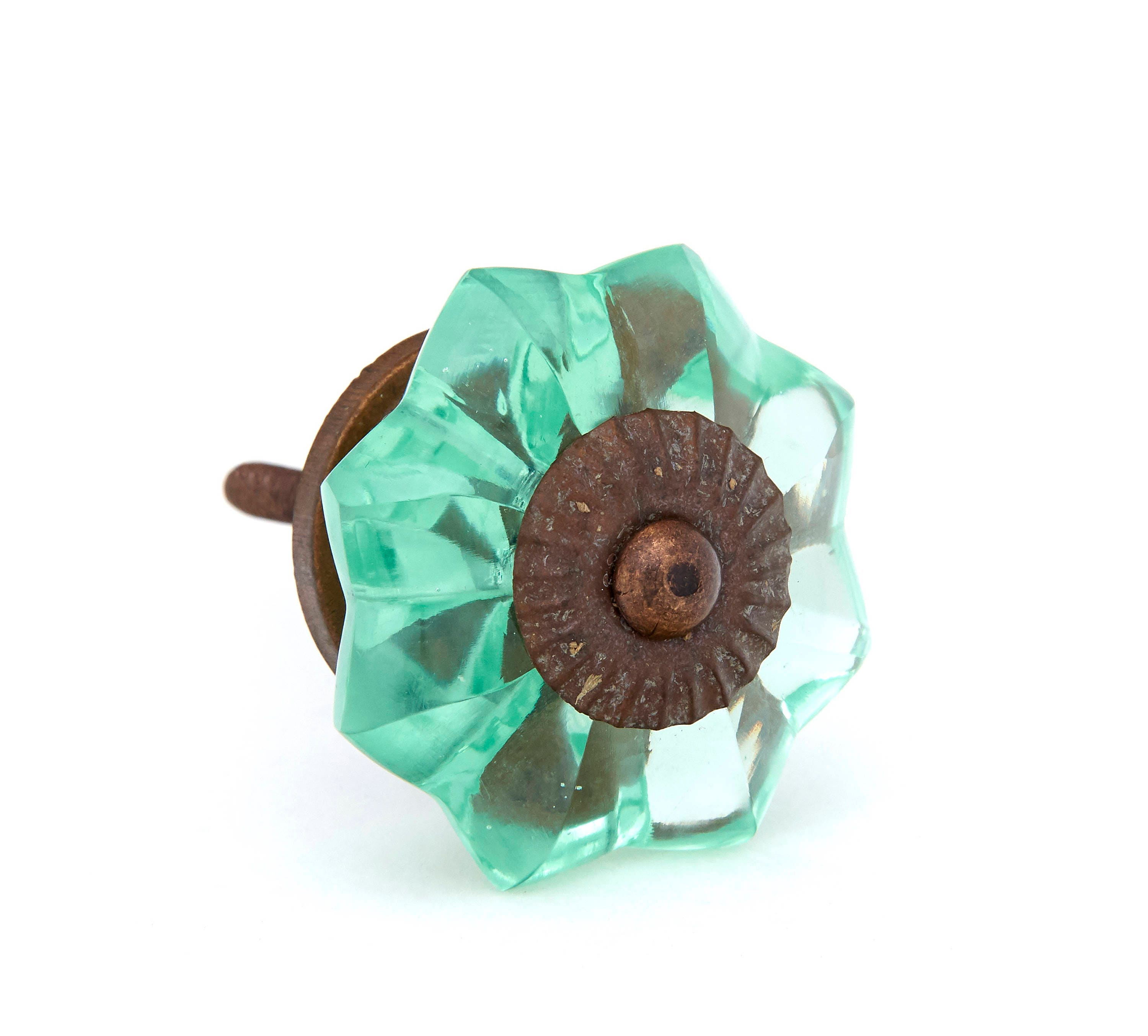 Kitchen Cabinet Pulls Glass Dresser Knobs Or Antique: Mint Green Glass Kitchen Cabinet Pulls Dresser Knobs With