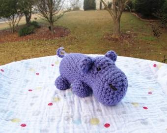 Crochet Hippo, Amigurumi Hippo, Stuffed Hippopotamus, Plush Hippo, Purple Hippo Toy, Hippo Stuffed Animal, Nursery Decor, made to order