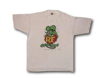 Vintage 90's RAT FINK R. F. Ed Big Daddy Roth Hot Rod Graphic Tee T-Shirt Sz XL