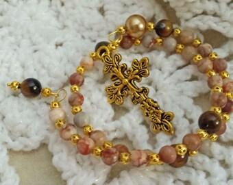 Jasper and Tiger Eye Memory Wire Christian Anglican Prayer Beads  (I 378)