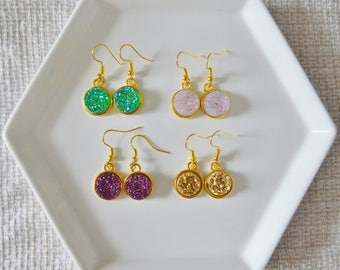 Faux Druzy Earrings 4 Colors! Emerald Green, Purple Glitter, Pink, Gold