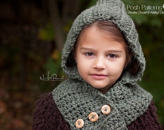 Crochet Pattern - Crochet Hooded Scarf Pattern - Hooded Cowl Pattern - Crochet Patterns for Women - Toddler, Child, Adult Sizes - PDF 113