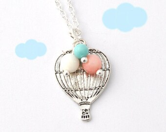 hot air balloon necklace - love is in the air - Up Up and Away - pastel beads - cute necklace, kawaii jewelry